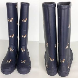 J. Crew Navy W/Basset Hounds Wellingtons. 8.